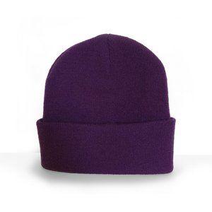 True purple thick knit beanie hat